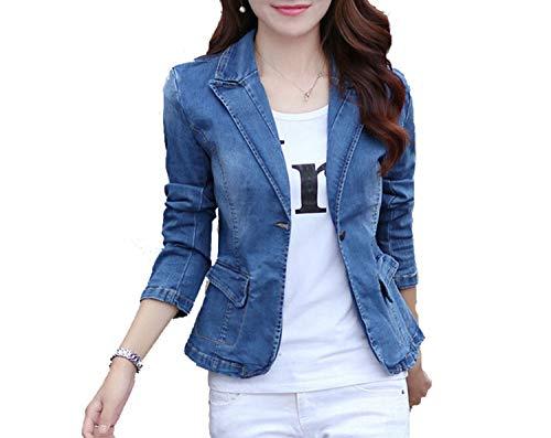 Monopetto Autunno Slim Cappotti Jeans Donna Primavera Giacche Blue Casual In Maniche Blu Denim E Giacca Moda Lunghe A 0EqZwq8A