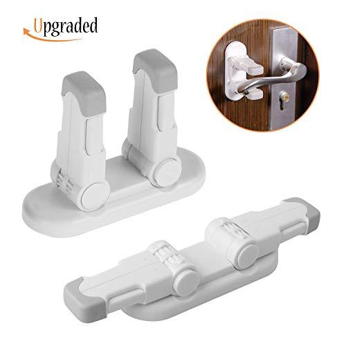 IFELISS Upgraded Door Lever Lock (2 Pack) Childproof Door Handle Locks Child Safety Locks|Advanced Double Locks Design|Stronger 3M Adhesive|Simple Installation |No Tools Needed