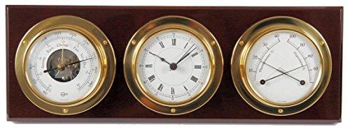 Barigo Weather Station w/Ship's Barometer, Comfortmeter & Quartz Ship Clock - Brass & Mahogany - 3.3