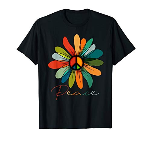 Daisy Peace sign hippie Vintage Gift T shirt Blue Peace Sign Womens T-shirt