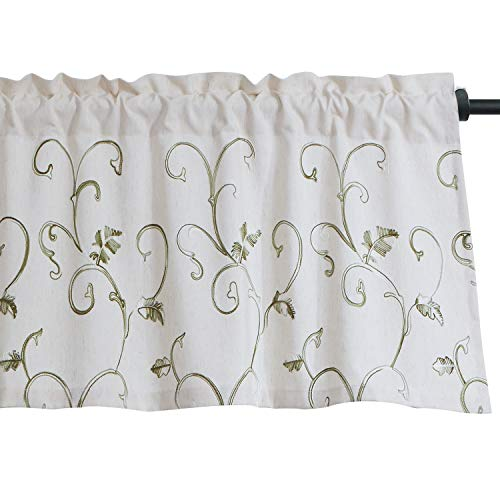 Embroidered Curtain Valance - VOGOL Vines Embroidered Energy Saving Curtains Valance, Pocket Valance for Windows, 52 x 18 Inch, Grass Green