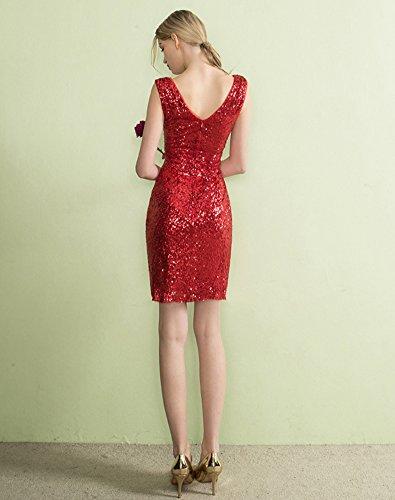 Kurz Brautjungfer Abendkleider Rot ausschnitt Lange Kleider Erosebridal V Pailletten qdvY48x