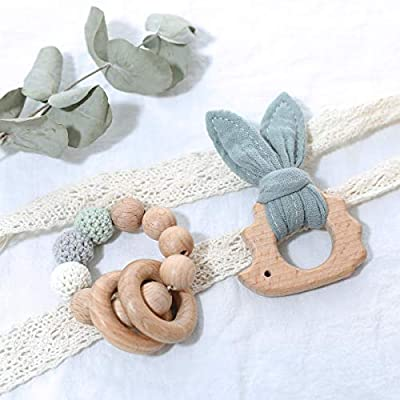 Set of 2 Lovely Cotton Rabbit Ears Wooden Hedgehog Teether Toy Food Grade Materials Crochet Beads Nursing Bracelet Organic Woodensensory Activity Teether Rattle Toys for Newborn: Toys & Games