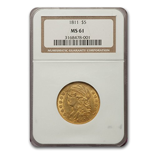 (1811 Capped Bust $5 Gold Half Eagle MS-61 NGC G$5 MS-61 NGC)