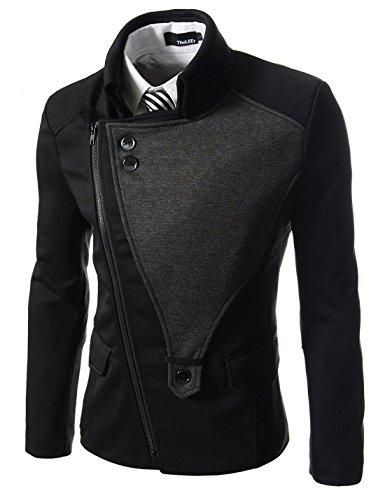 TheLees (DJK21) Mens Casual Rider Style Stretchy Slim Zipper Jacket Jumper Black US L(Tag size 2XL)