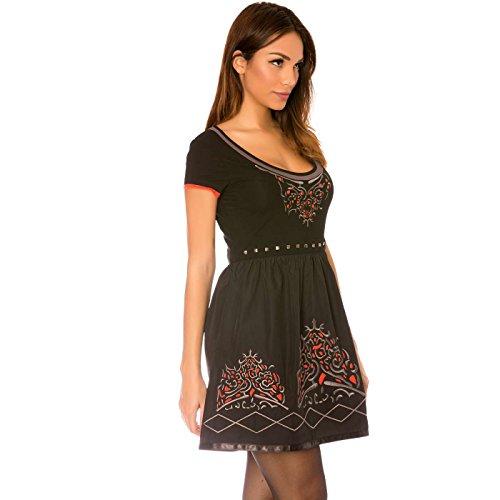 Miss Wear Line - Robe noir à manches courtes avec col en v et motifs