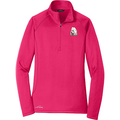 (Cherrybrook Breed Embroidered Ladies Eddie Bauer Base Layer Fleece - Small - Pink - Poodle)
