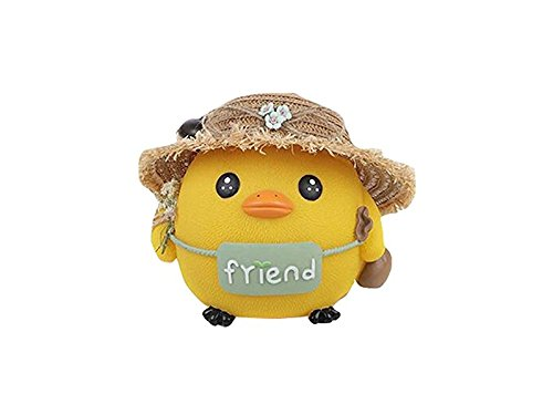 Hezon Cute Yellow Chicken Piggy Bank Cartoon Straw Hat Chickens Money Saving Bank(Yellow) EASY TO USE by Hezon
