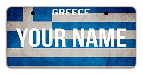 Greece Costumes Girl (BleuReign(TM) Personalized Custom Name License Greece Flag Plate Bicycle Bike Moped Golf Cart 3