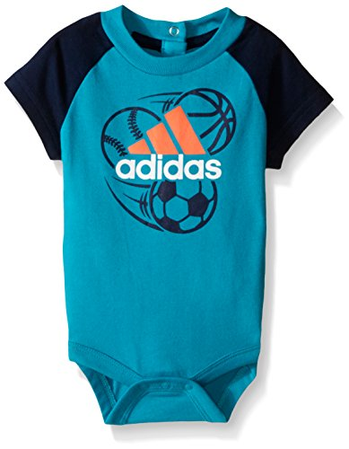 adidas Baby Boys' Single and 2 Pack Bodysuits, Shock Green, 24 Months