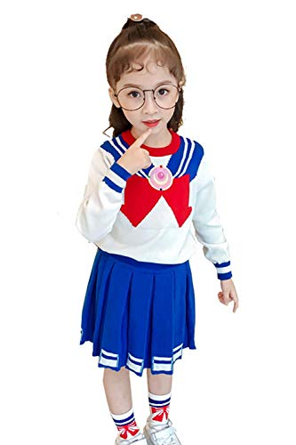 Kids Size Japan Anime Sailor Moon Cosplay Costume Tsukino Usagi Set (Large) White/Blue -