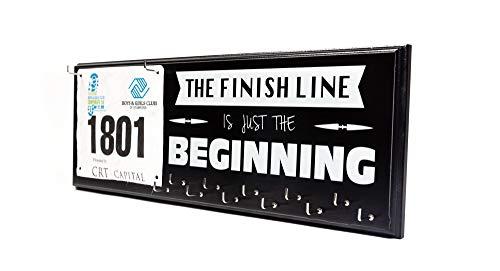 Marathon Medal Holder and Race Bib Hanger - The Finish Line Is Just The Beginning (Black) - Spark Running Co