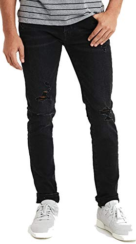 American Eagle Men's 01194596 Flex Skinny Jean, Black Wash (30x32)