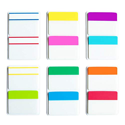 KIMCOME 2 Inch Sticky Tabs Index Tabs 240 Pieces, Page Tabs Flags Pages Markers Colored for Binder, File Folders and Notebook, [12 Colors] Writable, Repositionable, - Colored Durable Marker