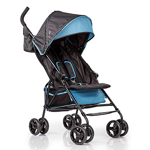 Summer 3Dmini Convenience Stroller, Blue Black Lightweight Infant Stroller with Compact Fold, Multi-Position Recline, Canopy with Pop Out Sun Visor and More Umbrella Stroller for Travel and More