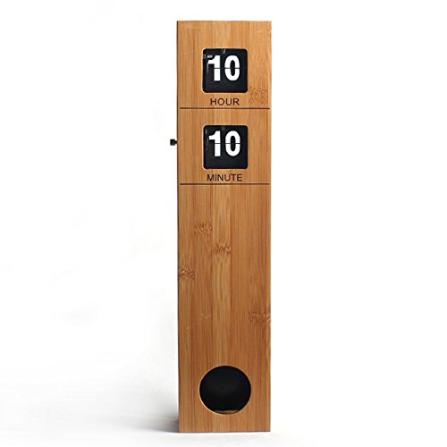 WoneNice Bamboo Retro Flip Clock