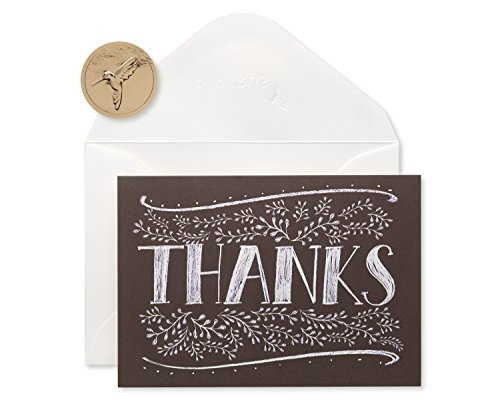 Papyrus Thank You Cards with Envelopes, Floral Chalkboard (14-Count)