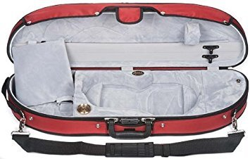 Bobelock Half Moon Puffy 1047P 4/4 Violin Case with Red Exterior and Grey Interior (Bobelock Fiberglass Violin Case)