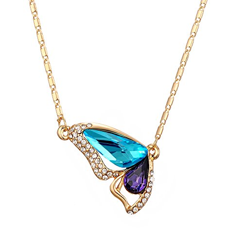 18k Gold-Plated Austrian Crystal Butterfly Flutterby Pendant Necklace Afterglow Jewelry -