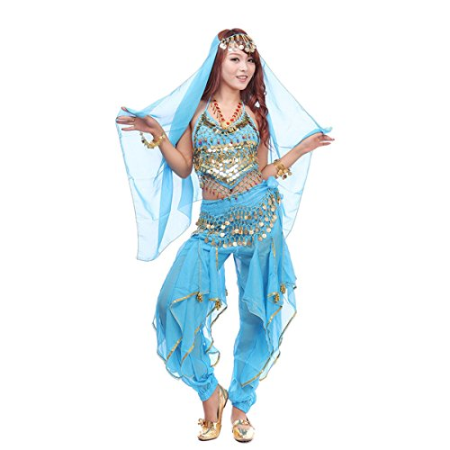 Pilot-trade Women's Belly Dance Costume Set 4-pieces Top Pants Hip Scarf Head Scarf with Gold Coins Light (4 Piece Fur Costume)
