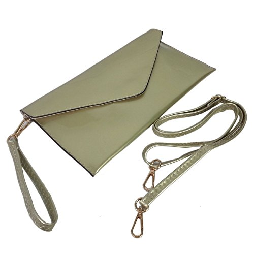 Envelope Evening Leather Wedding Faux Style Clutch New Ladies Patent Gold Purse Bag Green OXwBZU