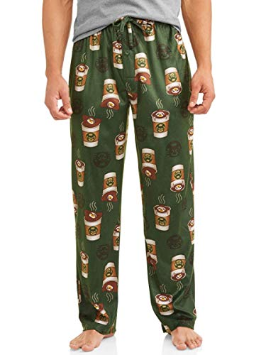 Men's Sloth Coffee Cup Comical Graphic Sleep Lounge Pajama Pants (Medium, Green Multi)