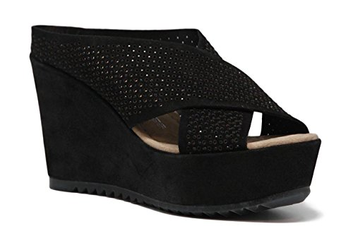 PEDRO MIRALLES Women's Silk Cross Over Diamante Leather Suede Wedge Mules L 42 (39 EU, Black Suede)