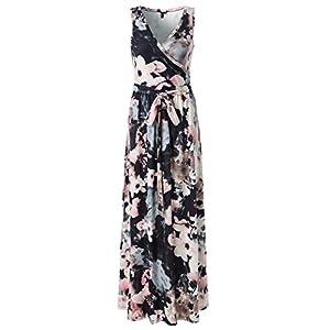 594bb885765a9 Zattcas Womens Bohemian Printed Wrap Bodice Sleeveless Crossover Maxi Dress