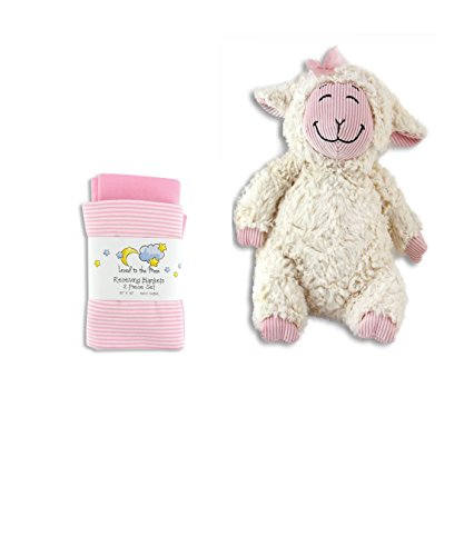 Baby Receiving Blankets with Lammy-Do Stuffed Lamb Toy-Gift Set-Girls, Pink