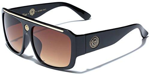 Aviator Shades Sunglasses Fashion (Kleo Flat Top Hip Hop Rapper Retro Aviator Sunglasses)