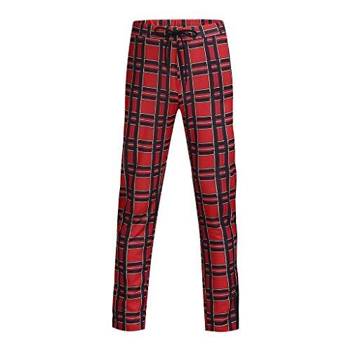 Homme À Rouge Pantalon Carreaux Fonctionnement Pantalons Sport Slim Pour Décontracté Coupe De Survêtement UwZwXq7WI