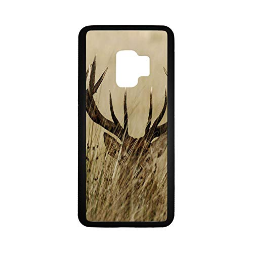Antler Decor Rubber Phone Case,Whitetail Deer Fawn in Wilderness Stag Countryside Rural Hunting Theme Compatible with Samsung Galaxy S9,One Size