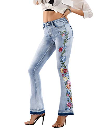 Women's Floral Embroidered Mid Rise Flare Denim Pants Bell Bottom Jeans Light Blue 14