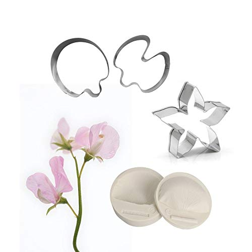 AK ART KITCHENWARE Floral Veining Molds and Fondant Cutters Gumpaste Sweet Pea Blossom Making Tools Set for Decorating Cakes