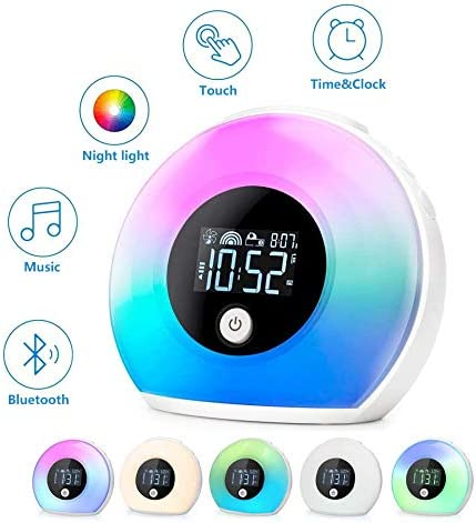 Amouhom Night Light Alarm Clock, Bedside Lamp with Bluetooth Speaker,Wake Up Light Bluetooth 5.0 HiFi Speaker,Rechargeable Battery 3 Alarm Sounds 12H Calendar,Music Player,Best Gift for Girls,Bedroom