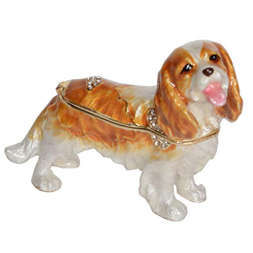 (Minihouse Treasured Box Jeweled King Charles Spaniel Dog Enameled Trinket Jewelry Box Keepsake Box Pet Gifts)