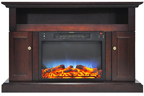 Brown Mahogany Electric Fireplace (Cambridge CAM5021-2MAHLED Sorrento Electric Fireplace with Multi-Color LED Insert and 47 In. Entertainment Stand in Mahogany)