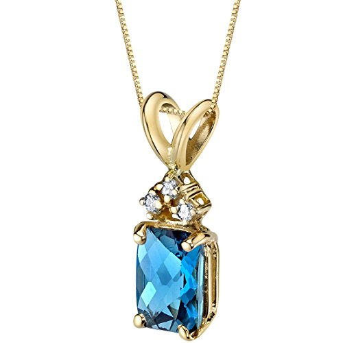 (14 Karat Yellow Gold Radiant Cut 1.00 Carats London Blue Topaz Diamond Pendant)