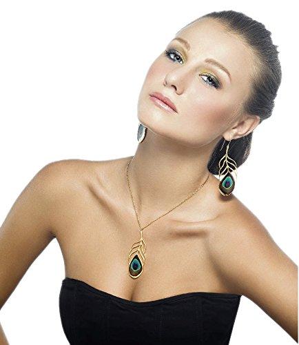 Parure Plume de Paon d'Or - Boucle d'oreilles et Collier pendentif Faits main - Grand modèle