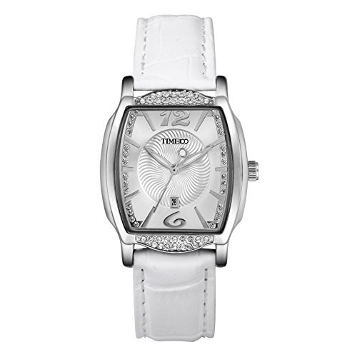 Time100 Women Fashion Diamonds Leather Band Watch with Number in Fancy Style Elegant Quartz Watch for Ladies