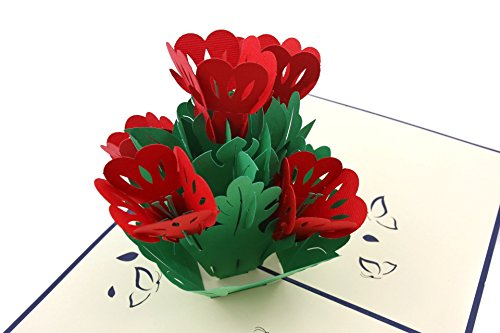 (PopLife Red Flower Bunch 3D Mother's Day Pop Up Card - Anniversary Pop Up for Mom, Happy Birthday - Gift for Her - Folds Flat - for Sister, for Daughter, for Wife, for Grandma, for Mother-in-Law)