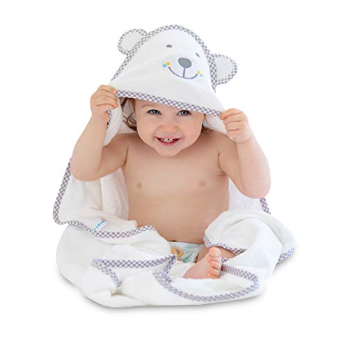 CradleMii Baby Bath Hooded Towel & 2 Washcloth Set | 100% Organic Premium Bamboo Fiber | Hypoallergenic Absorbent Soft & Warm | for Boy Girl Newborn Infant & Toddler | Baby Shower Gift ()