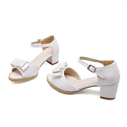 AllhqFashion Mujetes Tacón ancho Sólido Hebilla Puntera Abierta Sandalias de vestir con Lazos Blanco