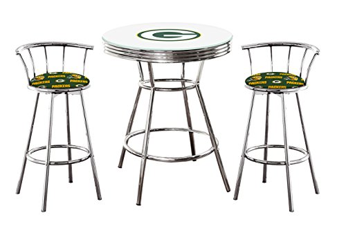 "The Furniture Cove 3 Piece White Pub/Bar Table Pub/Bar Table with Team Logo and a Glass Top and 2 – 29"" Swivel Stools Featuring Your Favorite Football Team Upholstered Seat Cushions (Packers) (Table Top Football Glass)"