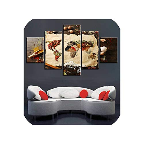 (Canvas Paintings Living Room Wall Art Framed 5 Pieces Grains Spices World Map Pictures HD Prints Food Poster Modular Home Decor,20x35 20x45 20x55cm,Frame)
