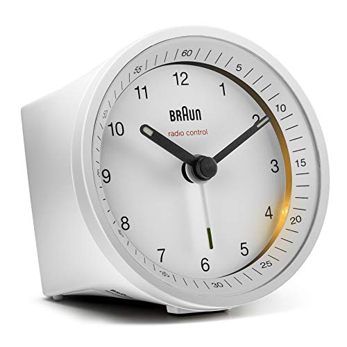Braun Classic Radio Controlled Analogue Alarm Clock - BC07W-DCF (DCF/GMT+1)