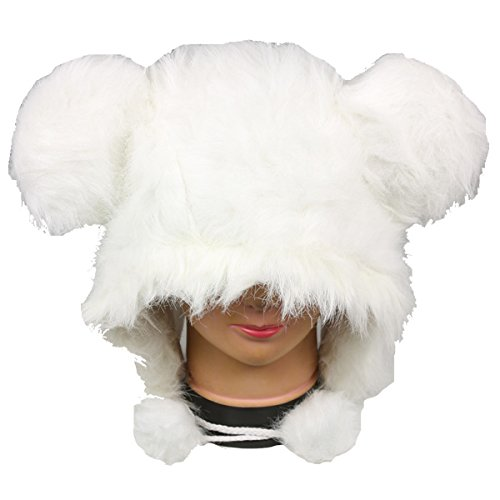 White Faux Fur Plush Hat with Ears - With Long Pom Pom (White Furby Costume)