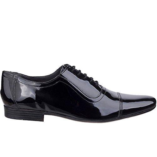 Lambretta Mens Taylor Toecap High Shine Lace Up Oxford Smart Shoes Verni Noir cxOxPFn2y