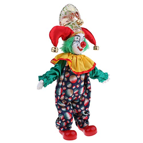 Prettyia 38cm Lovely Smiling Porcelain Clown Doll for Kids Birthday Gifts Halloween Christmas Table Decoration #2 ()