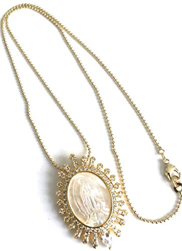 - Mother of Pearl Virgen de Guadalupe Oval Pendant Necklace Gold Plated 18k Chain 17.5 Inches